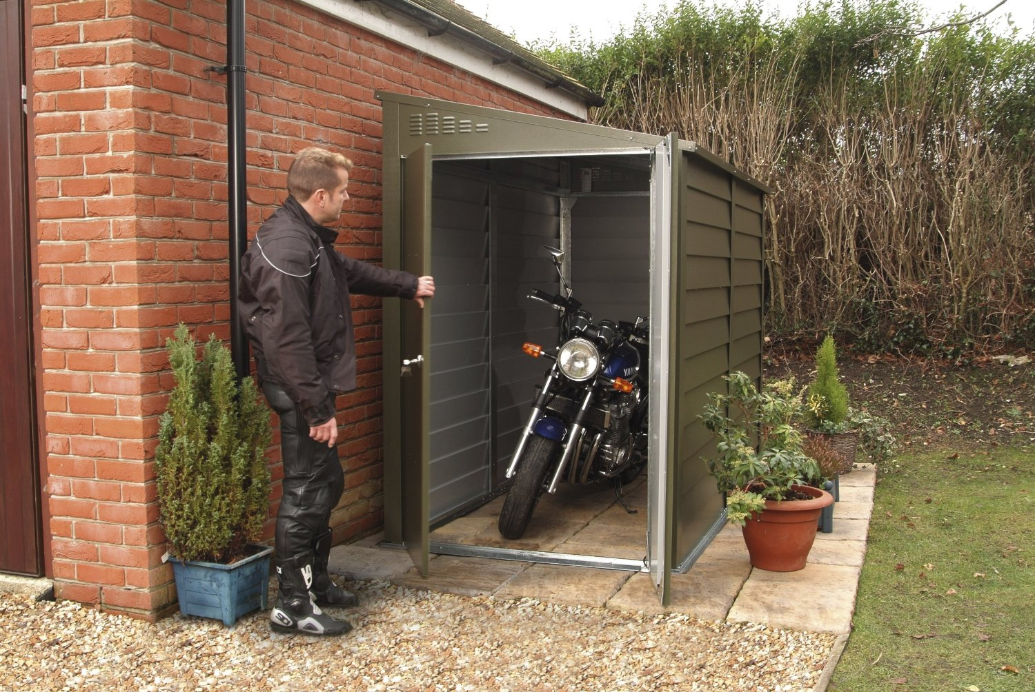 motorcycle storage sheds type